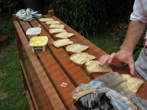 World record-breaking buttering bread